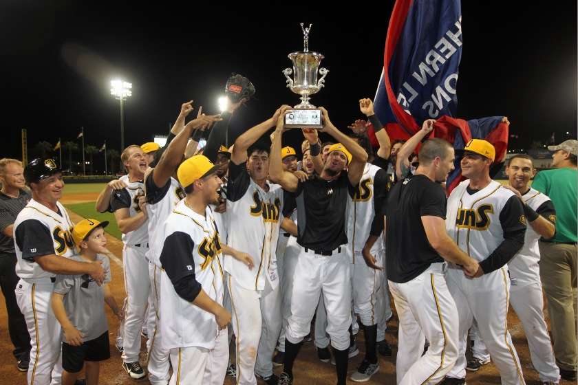 Realmuto and Nicolino were part of the celebration on Saturday as the Suns won the 2014 Southern League title. Photo Courtesy: Jay Metz
