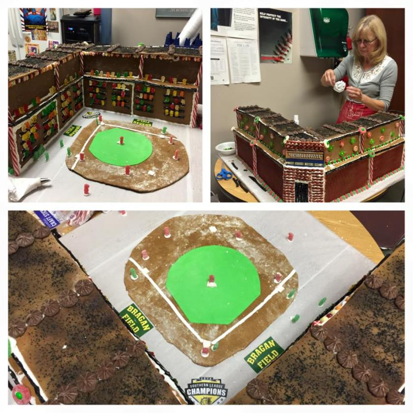 Several views of the Bragan Field gingerbread house and its creator, Barbara O'Berry. Photo Courtesy: January Putt / Jacksonville Suns.