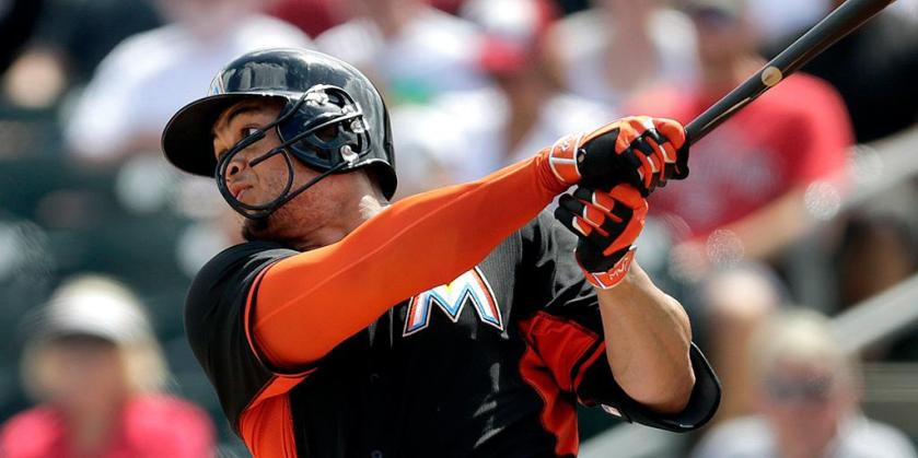 Former Sun Giancarlo Stanton hit his first homer of the spring on Wednesday as the Marlins beat the Nationals.