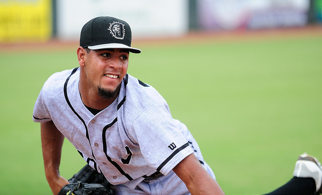 Jarlin Garcia joins the Marlins in Washington. Photo Credit - Roger C. Hoover.